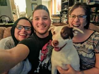 Family photo with my nephew, niece, and Pigwidgeon the dog.