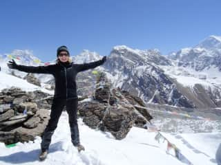 Standing on the summit of Gokyo Ri in Nepal - 5,500 metres above sea level