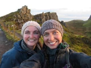 My sister and I enjoying a sunrise hike in Scotland