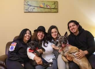 Edwin and I and his family upon adopting their second pup, Sparta! (L to R: Elsy, Sparta, Lucy, Liz (me!), Foxy, and Edwin