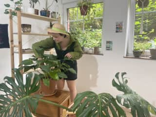 Me in my beautiful jungle, I love plants and gardening!