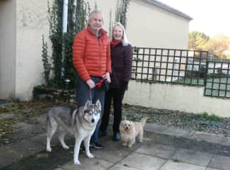 Hal + Carol setting out to walk Blade + Max in the Lot, France.