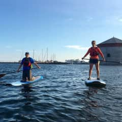 Laurel learning to SUP in Kingston, Ontario