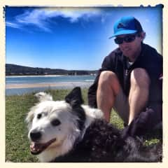 My husband Simon with our Border Collie Louie