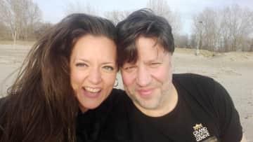 My boyfriend and me on a beach in Buffalo, New York