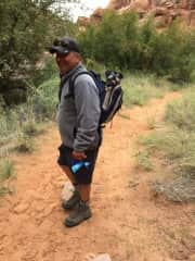 Hiking along the Colorado, Vinny got tired!