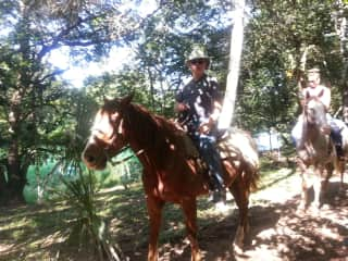 Rick on ride to Mayan ruin in Belize