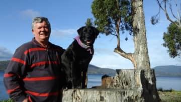 Jim with Jazz in Tasmania