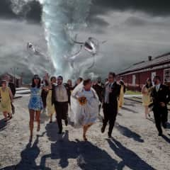 This is Craig and my's wedding photo. Craig is a sound editor and worked on Sharknado.