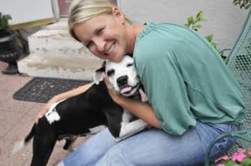 Sharlene with Jenny, a foster dog