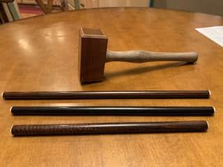 I make wooden mallets and conversation sticks.