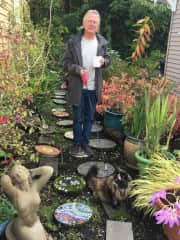 Phil walking Juji the cat at our first official THS sit in Gig Harbor, Washington.