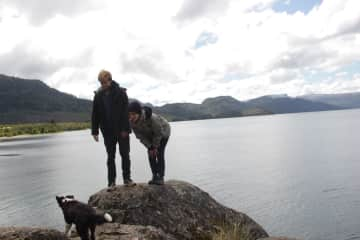 Us with Salsa in Patagonia. We took her for rides in the car because she's a puppy.
