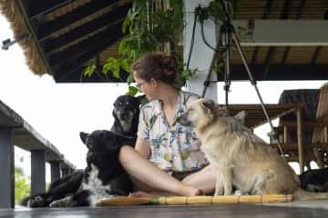 Anna's dog magnet skills captured in Thailand.