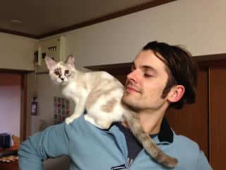 Our Japanese rescue, Xylophone, on Julian's shoulder
