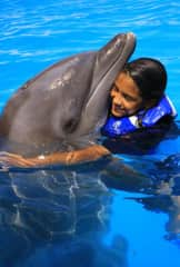 My daughter at a Dolphin Trainer program