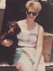 Me with our first dog - Arrienne traveled across the country with us.