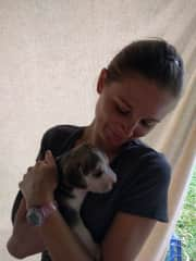 Marta holding a puppy in Panama