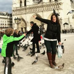 Me and Asher at Notre Dame, I am a teacher and I teach my children through our travels!