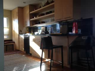 kitchen, w  breakfast bar and outlets for devices