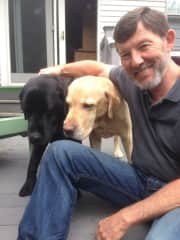 Dave with Zelda, 12 year old black lab, and Ringo, her 6 year old son.  We've had both since they were puppies.