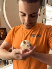 LJ with the adventurous hamster, Maple!