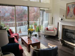 Living Room, gas fire place, front balcony