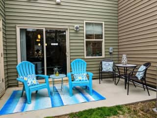 Patio and backyard for dining and lounging - hammock and hammock stand available for afternoon naps as well