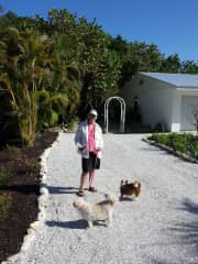 Florida:  JoAnn out for a walk with Izzie and Lilly