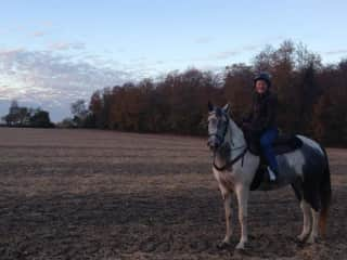 Horseback riding. This is me on Glory B.. a wonderful fall ride.