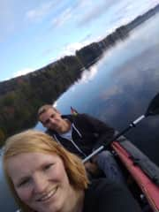 This is me and my boyfriend paddling. We love to travel and to be outside!