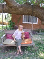 Alison with Bwenzi, I had Bwenzi since she was a puppy and we went everywhere together.
