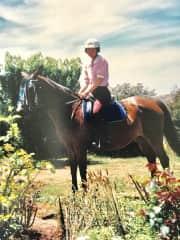 Me years later, riding Vlado, progeny of Tanzen (below)