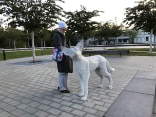 As I'm just starting this, no pet friend photos here yet – but at least me with a lovely dog sculpture...