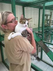Me in the cattery with DaisyDoo.