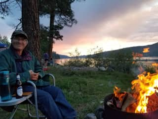 Dave Swangler by the campfire