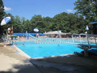 I enjoy spending time at our community pool with my children.