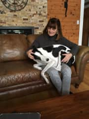 Tracey with Lily who thinks she is a lapdog