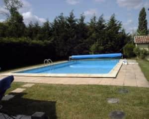 Salt water pool, secluded in garden.