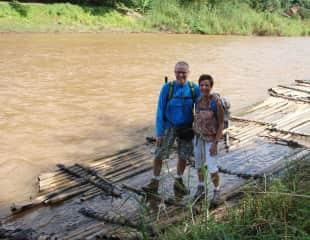 Thailand, Bibi and Hans on a jungle trek.
