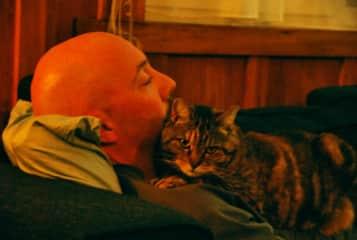 Garrett and Kiwi kitty friend