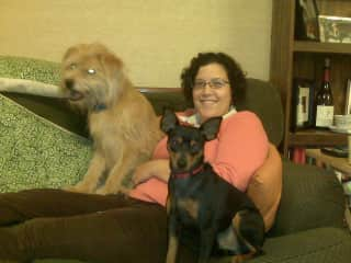 Sheila with Mona and a foster dog, Rufus!