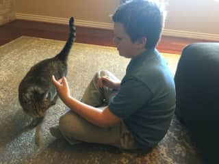 Son with our friend's cat, Sugar!