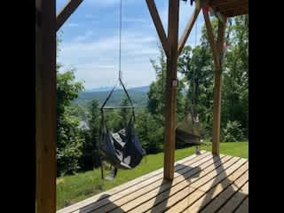 Enjoy our ENO hammock chairs on the lower deck---a great place to read, relax and take in the view!
