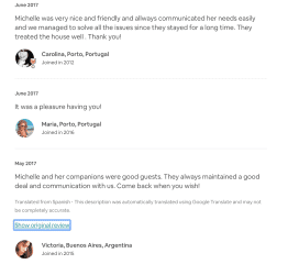 Positive reviews from AirBnb