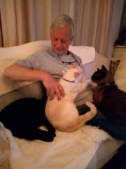 John with Coco, Fluffy And Ruby pet sitting in Spain