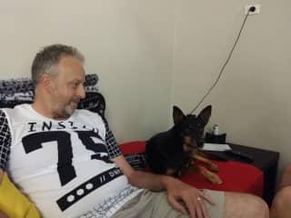 Ian with Diesel housesitting in Broome, WA