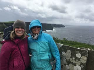 My sister and I were visiting Ireland August 2018. Notice the wool hat and warm clothing in August!