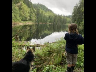 I love teaching out in nature. My dog Bowie goes with me and plays with the children.