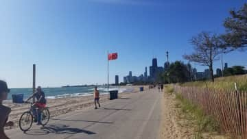 The lake front trail, it's 18 miles long, heading into Chicago.